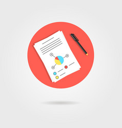 white sheet with graph and pen in red circle vector image
