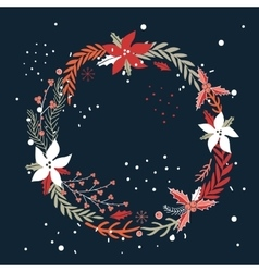 Christmas New Year Holiday wreath Hand drawn vector image