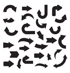 Collection of flat black arrow vector