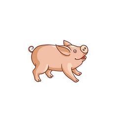 cute baby pig side view cartoon vector image vector image