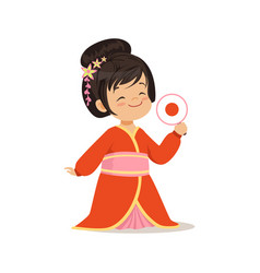 cute girl wearing red kimono national costume of vector image vector image