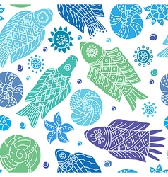 Decorative seamless background pattern with fishes vector