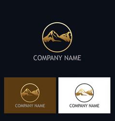 gold mountain icon logo vector image vector image