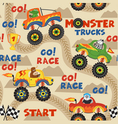 seamless pattern monster trucks with animals vector image vector image