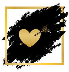 arrow heart sign golden icon at black vector image vector image