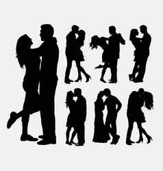 Couple loving people silhouettes vector image vector image