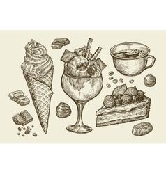 Food dessert drink Hand drawn ice cream sundae vector image vector image