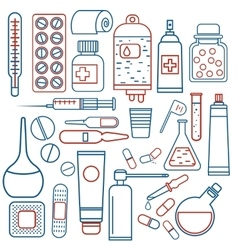 medical objects set vector image