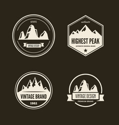 set of mountain and outdoor adventures logo vector image vector image