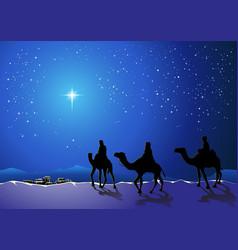 Three wise men go for the star of bethlehem vector