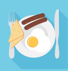 Breakfast plate with sausage sandwich and egg vector