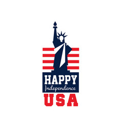 creative logo with statue of liberty and us flag vector image
