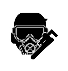 gas mask and pipe wrench icon vector image