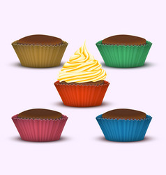 set of five cupcakes vector image