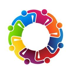 Teamwork Hugging 8 logo vector image vector image