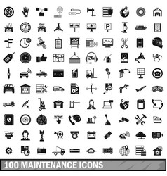 100 maintenance icons set simple style vector