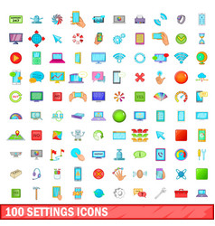 100 settings icons set cartoon style vector image