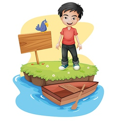 A boy near the empty signboard with a bird vector image