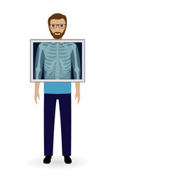 adult man with x-ray chest vision radiography vector image