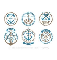 anchor logo nautical adventure emblem t-shirt vector image