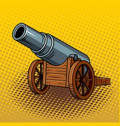 Ancient huge cannon pop art vector