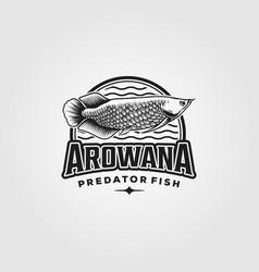 arowana fish vintage logo design vector image