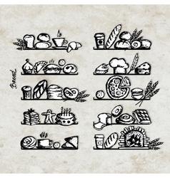 Bakery on shelves sketch for your design vector