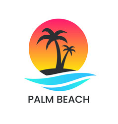 Beach sunset logo on white backdrop palm tree vector