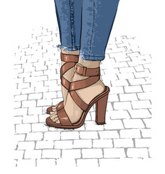 beautiful women legs in fashionable high heel vector image