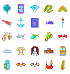 Beyond the sea icons set cartoon style vector