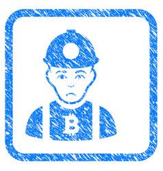 Bitcoin miner framed stamp vector