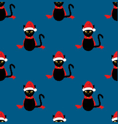 Black cat santa hat seamless on indigo blue vector