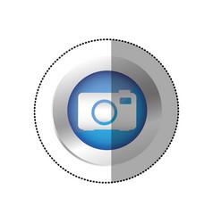 Blue symbol camera icon vector