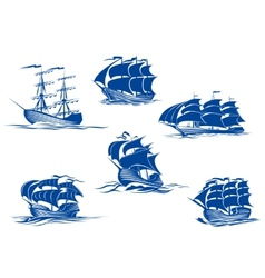 Blue tall ships or sailing ships vector