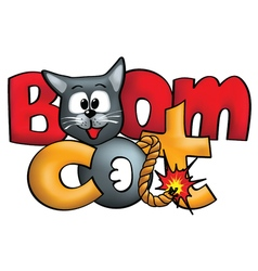 Bomb-like cat logo concept Boomcat vector