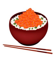Bowl boiled rice topping with chopped salmon vector