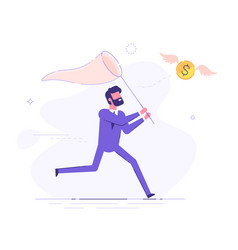 Businessman is trying to catch flying dollar coin vector