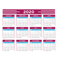 calendar grid 2020 new year organizer and wall vector image