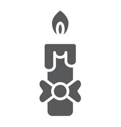 Candle glyph icon fire and light flame sign vector