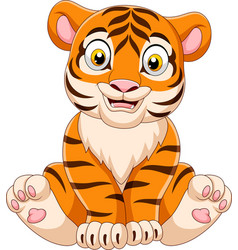 cartoon baby tiger sitting vector image
