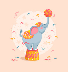 Cartoon circus elephant with a ball vector