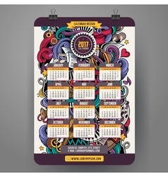 Cartoon doodles Musical 2017 calendar vector image
