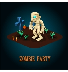 Cartoon Mummy on Night Halloween Cemetery vector image