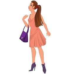 Cartoon young woman in pink dress and purple bag vector image