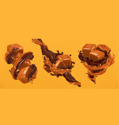 chocolate and caramel splashes 3d realistic vector image