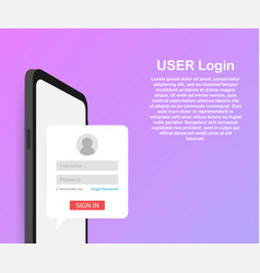 Clean mobile ui design concept login application vector