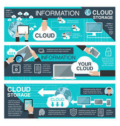 Cloud data storage and information technology vector