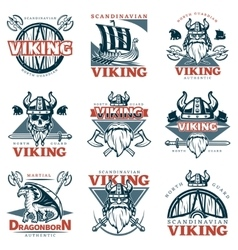 Colored Viking Emblem Set vector image