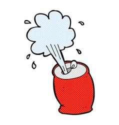 comic cartoon fizzing soda can vector image
