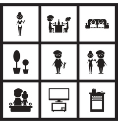 Concept flat icons in black and white love family vector